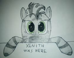 Size: 2448x1928 | Tagged: safe, artist:überreaktor, oc, oc:xenith, zebra, fallout equestria, hooves, kilroy, kilroy was here, solo, stripes, text, traditional art