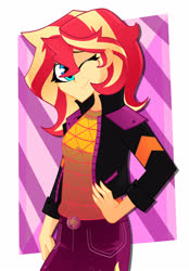 Size: 2327x3350 | Tagged: safe, artist:xan-gelx, sunset shimmer, equestria girls, equestria girls series, sunset's backstage pass!, spoiler:eqg series (season 2), clothes, commission, digital art, female, music festival outfit, one eye closed, smiling, solo, wink