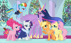 Size: 2992x1800 | Tagged: safe, artist:pink-soul27, applejack, fluttershy, pinkie pie, princess flurry heart, rainbow dash, rarity, twilight sparkle, alicorn, earth pony, pegasus, pony, unicorn, the last problem, spoiler:s09e26, backwards cutie mark, mane six, older, older applejack, older fluttershy, older mane 6, older pinkie pie, older rainbow dash, older rarity, older twilight, princess twilight 2.0, stained glass, twilight sparkle (alicorn)