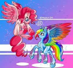 Size: 750x692 | Tagged: artist needed, source needed, safe, pinkie pie, rainbow dash, pegasus, pony, leak, spoiler:g5, colored wings, duo, female, g5, hooves, mare, multicolored wings, pegasus pinkie pie, pinkie pie (g5), race swap, rainbow dash (g5), rainbow wings, redesign, wings