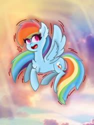 Size: 1200x1600 | Tagged: safe, artist:rainbow57716359, rainbow dash, pegasus, pony, cute, female, flying, mare, sky, wings