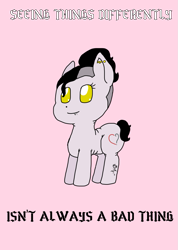 Size: 795x1118 | Tagged: safe, artist:madamesaccharine, oc, oc:puzzling insanity, earth pony, pony, chibi, chubby, fangs, piercing, positive ponies, solo, text