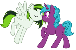 Size: 746x491 | Tagged: safe, artist:theironheart, oc, oc only, pegasus, pony, unicorn, base used, eyes closed, female, freckles, kissing, male, mare, oc x oc, raised hoof, shipping, simple background, stallion, straight, transparent background, wide eyes