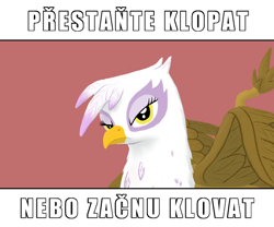 Size: 600x500 | Tagged: safe, artist:quint-t-w, gilda, griffon, anti-clop, bust, caption, czech, foreign language, image macro, looking at you, old art, simple background, solo, text, translation in description