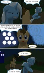 Size: 1000x1650 | Tagged: safe, artist:quint-t-w, doctor whooves, time turner, trixie, earth pony, pony, unicorn, comic, crossover, crying, dialogue, doctor who, gallifreyan, old art, running, sitting, tardis, wheels trixie, yelling