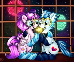 Size: 1280x1087 | Tagged: safe, artist:appleneedle, oc, oc only, pegasus, pony, unicorn, 2020, clothes, commission, duo, fireworks, new year, sitting, socks, striped socks, window