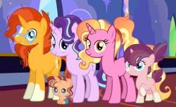Size: 1280x782 | Tagged: safe, artist:thatonecrazyartist18, luster dawn, starlight glimmer, sunburst, oc, oc:starshine, oc:sunny rays, pony, unicorn, baby, baby pony, family, female, filly, headcanon, luster dawn is starlight's and sunburst's daughter, male, mare, offspring, parent:starlight glimmer, parent:sunburst, parents:starburst, shipping, stallion, starburst, straight