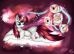 Size: 1280x930 | Tagged: safe, artist:appleneedle, oc, oc only, oc:fausticorn, alicorn, pony, alicorn oc, end of ponies, female, letter, magic, mare, prone, smiling, solo, thank you