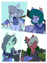 Size: 1440x1921 | Tagged: safe, artist:omegapony16, oc, oc only, oc:oriponi, bat pony, earth pony, pegasus, pony, unicorn, armor, bat pony oc, clothes, ear piercing, earring, female, frown, gun, jewelry, male, mare, piercing, rocket launcher, scar, scarf, smiling, smirk, soldier, stallion, vest, weapon