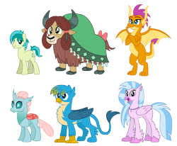 Size: 5000x4114 | Tagged: safe, artist:aleximusprime, gallus, ocellus, sandbar, silverstream, smolder, yona, changedling, changeling, dragon, earth pony, griffon, hippogriff, pony, yak, flurry heart's story, adult, alternate design, future, group, height difference, older, older gallus, older ocellus, older sandbar, older silverstream, older smolder, older yona, simple background, student six, transparent background