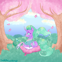 Size: 2000x2000 | Tagged: safe, artist:sampailoverboy, mistmane, unicorn, curved horn, digital art, flower, horn, leaves, pillow, prone, signature, smiling, solo, tree