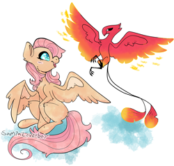 Size: 1530x1455 | Tagged: safe, artist:sampailoverboy, fluttershy, philomena, pegasus, phoenix, pony, cute, duo, female, flying, heart eyes, looking at each other, mare, redesign, shyabetes, signature, sitting, spread wings, wingding eyes, wings