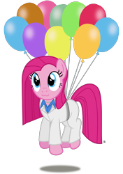 Size: 1805x2558 | Tagged: safe, artist:anime-equestria, pinkie pie, earth pony, pony, 80s, :3, balloon, belt, clothes, cute, diapinkes, female, floating, jewelry, mare, necklace, pinkamena diane pie, shirt, simple background, string, suit, then watch her balloons lift her up to the sky, transparent background, vector