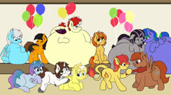 Size: 3401x1898 | Tagged: safe, artist:aaathebap, oc, oc only, oc:aaaaaaaaaaa, oc:bunny wonder, oc:buttercream, oc:cinderheart, oc:felicity stars, oc:flamespitter, oc:magna-save, oc:sea fluff, oc:tai, oc:twintails, oc:winterlight, bat pony, pegasus, pony, unicorn, adorafatty, balloon, bat pony oc, belly, belly bed, belly rubbing, cute, fat, impossibly large belly, inflatable, inflatable diaper, inflation, lots of characters, magslicity, morbidly obese, obese, pegasus oc, simple background, sitting, squishy