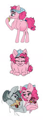 Size: 600x1658 | Tagged: safe, artist:celestial-rainstorm, marble pie, pinkie pie, oc, oc:cherry chimichanga, oc:confetti cake, earth pony, pony, baby, baby pony, belly, big belly, cute, eating, female, filly, foal, food, mama pinkie, muffin, offspring, parent:cheese sandwich, parent:pinkie pie, parents:cheesepie, pie sisters, preggy pie, pregnant, siblings, sisters, tongue out, twins