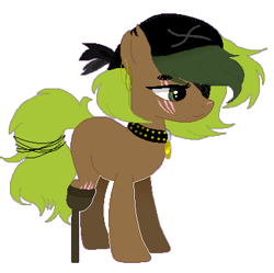 Size: 399x397 | Tagged: safe, artist:liszeueadopts, oc, oc only, oc:seaweed shores, earth pony, pony, amputee, bandana, blank flank, collar, ear piercing, earring, eye scar, eyepatch, female, jewelry, mare, peg leg, piercing, pirate, prosthetic leg, prosthetic limb, prosthetics, scar, simple background, solo, torn ear, transparent background