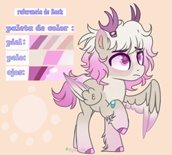 Size: 3441x3091 | Tagged: safe, artist:2pandita, oc, oc:dack, pegasus, pony, antlers, male, reference sheet, solo, spanish, spanish text, stallion, two toned wings, wings