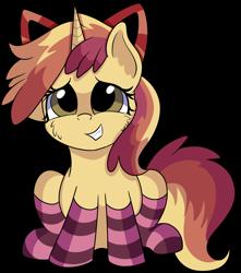 Size: 1280x1445 | Tagged: safe, artist:rainbowtashie, apple bloom, dinky hooves, oc, oc:sparkling apples, earth pony, pony, unicorn, adorable face, bow, clothes, commissioner:bigonionbean, cute, female, fusion, fusion:sparkling apples, mare, socks, striped socks