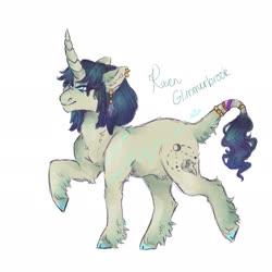 Size: 2048x2048 | Tagged: safe, artist:venti-star, oc, oc only, classical unicorn, pony, unicorn, cloven hooves, ear piercing, earring, jewelry, leonine tail, piercing, solo, unshorn fetlocks