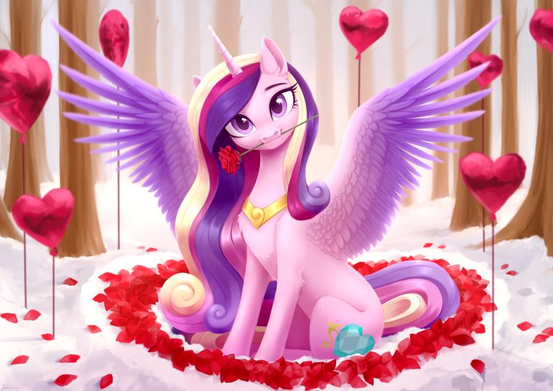 2258045 - safe, artist:sparkling_light, princess cadance, alicorn, pony,  balloon, beautiful, chest fluff, cute, cutedance, dawwww, ear fluff,  female, flower, flower in mouth, head tilt, heart, heart balloon, hnnng,  holiday, leg fluff, looking