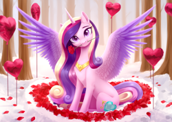 Size: 3508x2480 | Tagged: safe, artist:sparkling_light, princess cadance, alicorn, pony, balloon, beautiful, chest fluff, cute, cutedance, dawwww, ear fluff, female, flower, flower in mouth, head tilt, heart, heart balloon, holiday, leg fluff, looking at you, mare, mouth hold, petals, princess of love, rose, rose in mouth, rose petals, sitting, solo, spread wings, valentine's day, wings