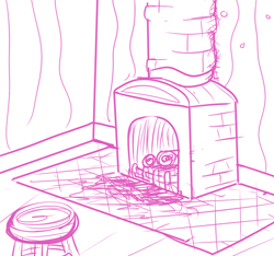 Size: 640x600   Tagged: safe, artist:ficficponyfic, barely pony related, chimney, corner, cyoa, cyoa:madness in mournthread, fireplace, log, monochrome, mystery, part of a series, part of a set, scorched, stool, story included