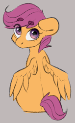 Size: 1227x2000 | Tagged: safe, artist:spoopygander, scootaloo, pegasus, pony, eyebrows visible through hair, female, filly, looking back, rear view, simple background, sitting, solo