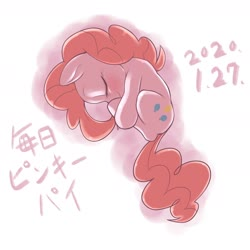 Size: 1536x1536 | Tagged: safe, artist:kurogewapony, pinkie pie, earth pony, pony, curled up, cute, diapinkes, eyes closed, female, japanese, mare, simple background, sleeping, solo, white background