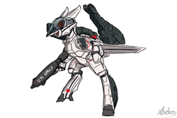 Size: 1500x1000 | Tagged: safe, artist:andromailus, oc, oc only, original species, plane pony, pony, robot, robot pony, bipedal, gun, macross, mecha, plane, simple background, solo, vf-1 valkyrie, weapon, white background