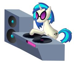 Size: 1213x983 | Tagged: safe, artist:mlplayer dudez, dj pon-3, vinyl scratch, pony, unicorn, glasses, isometric, record, shading, simple background, solo, speaker, turntable