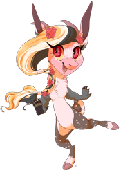 Size: 787x1108 | Tagged: safe, artist:qatsby, oc, oc only, hybrid, braid, chest fluff, claws, cloven hooves, female, flower, flower in hair, freckles, interspecies offspring, long eyelashes, magical gay spawn, offspring, parent:big macintosh, parent:discord, parents:discomac, paw pads, paws, sharp teeth, simple background, solo, teeth, transparent background, underpaw
