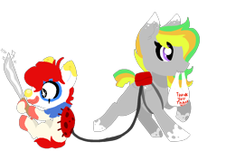 Size: 1500x1000 | Tagged: safe, artist:nootaz, oc, oc only, oc:jester jokes, oc:odd inks, earth pony, pegasus, pony, backpack, bag, clown, clown makeup, clown nose, couple, female, funny, grocery bag, knife, leash, machete, male, mare, mouth hold, simple background, stallion, transparent background, trotting
