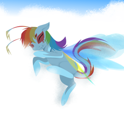 Size: 2514x2378 | Tagged: safe, artist:meanncat, rainbow dash, breezie, original species, breeziefied, cloud, dark breezie, eyes closed, female, floppy ears, leonine tail, multiple eyes, on a cloud, sleeping, sleeping on cloud, solo, species swap, underhoof