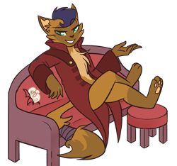 Size: 1200x1125 | Tagged: safe, artist:meanncat, capper dapperpaws, abyssinian, anthro, my little pony: the movie, clothes, coat, couch, eyebrows visible through hair, grin, looking at you, male, simple background, sitting, smiling, solo, speedpaint available, stool, transparent background