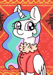 Size: 595x842 | Tagged: safe, artist:jess sunny, princess celestia, alicorn, pony, abstract background, chinese, chinese new year, clothes, cute, cutelestia, folded wings, looking at you, smiling, solo, wings