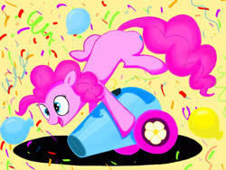 Size: 2048x1536 | Tagged: safe, artist:feather-red, artist:scoot0i0i08, pinkie pie, earth pony, pony, balloon, confetti, female, mare, open mouth, party cannon, simple background, smiling, solo