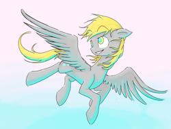Size: 2048x1536 | Tagged: safe, artist:feather-red, artist:scoot0i0i08, derpy hooves, pegasus, pony, eyebrows visible through hair, female, floppy ears, flying, gradient background, mare, smiling, solo, underlighting