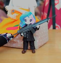 Size: 931x960 | Tagged: safe, artist:redness, applejack, princess celestia, equestria girls, doll, equestria girls minis, eqventures of the minis, g3a4, gun, h&k g3, malaysia, principal celestia, toy, weapon