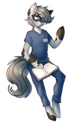 Size: 1810x3000 | Tagged: safe, artist:earthpone, oc, oc only, anthro, earth pony, clothes, male, nurse, reading, simple background, solo, stallion, uniform, white background