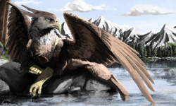 Size: 2500x1500 | Tagged: safe, artist:aquila chrysaetos, oc, oc only, oc:peregrine, griffon, bandolier, cloud, complex background, griffon oc, gun, gunslinger, handgun, holster, lake, male, mountain, mountain range, outdoors, pathfinder, pen and paper rpg, resting, revolver, scenic background, sky, solo, spread wings, tree, water, weapon, wings