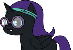 Size: 1692x1152 | Tagged: safe, artist:poniidesu, oc, oc only, oc:nyx, alicorn, pony, /mlp/, alicorn oc, clothes, cute, drawthread, female, filly, glasses, grin, headband, horn, nyxabetes, ocbetes, purple mane, simple background, smiling, solo, study, transparent background, wings