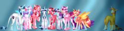 Size: 10000x2500 | Tagged: safe, artist:clay-bae, princess cadance, princess flurry heart, shining armor, sunburst, oc, oc:pure heart, oc:rome rose, oc:royal grove, oc:silver shield, oc:valentine, alicorn, pegasus, pony, unicorn, absurd resolution, family, female, implied infidelity, male, mare, offspring, older, parent:princess cadance, parent:shining armor, parent:sunburst, parents:shiningcadance, parents:sundence, siblings, stallion