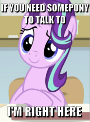 Size: 514x694 | Tagged: safe, edit, edited screencap, screencap, starlight glimmer, pony, unicorn, a horse shoe-in, spoiler:s09e20, bronybait, caption, chair, cropped, cute, desk, glimmerbetes, image macro, looking at you, sitting, smiling, solo, text