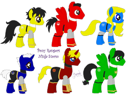 Size: 810x600 | Tagged: safe, artist:ameyal, blue ranger, green ranger, power rangers, power rangers ninja storm, red ranger, yellow ranger