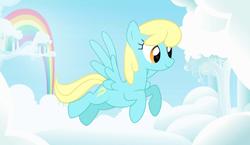 Size: 2944x1705 | Tagged: safe, artist:kim0508, sassaflash, pegasus, pony, background pony, cloud, female, flying, mare, rainbow, sky, solo, ych result
