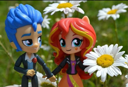 Size: 579x396 | Tagged: safe, artist:natsumiol, flash sentry, sunset shimmer, equestria girls, doll, equestria girls minis, eqventures of the minis, female, flashimmer, flower, male, photo, shipping, straight, toy