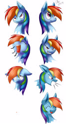 Size: 1600x3000 | Tagged: safe, artist:mysteryart716, rainbow dash, pegasus, pony, angry, expressions, female, happy, mare, screaming, shout, smiling, yawn