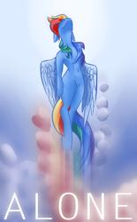 Size: 1300x2100 | Tagged: safe, artist:thegraid, rainbow dash, pegasus, pony, female, flying, mare, solo, wings