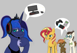 Size: 1462x1000 | Tagged: safe, artist:jellymaggot, button mash, gizmo, princess luna, sunset shimmer, alicorn, earth pony, pony, unicorn, gamer luna, computer, drawthread, game boy, gamer sunset, headphones, nintendo switch, pc master race, xbox