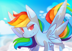 Size: 2480x1748 | Tagged: safe, artist:ame-baki, rainbow dash, pegasus, pony, cloud, colored pupils, female, looking at you, mare, on a cloud, sky, smiling, smirk, spread wings, standing on cloud, wings